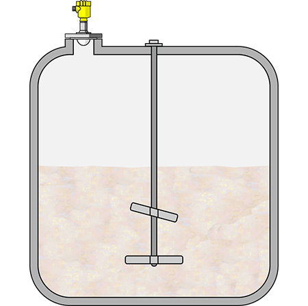 Level measurement in a dissolving tank