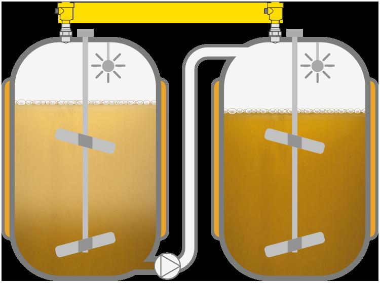 Level measurement in the sugar dissolver vessel