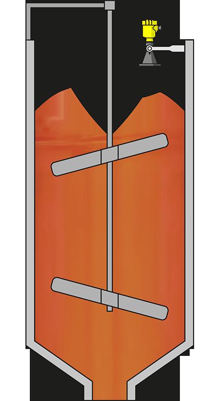 Level measurement in the alumina powder stirring tank