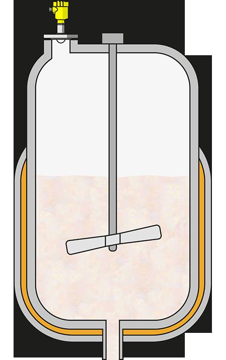 Level measurement in an aluminium powder suspension reactor