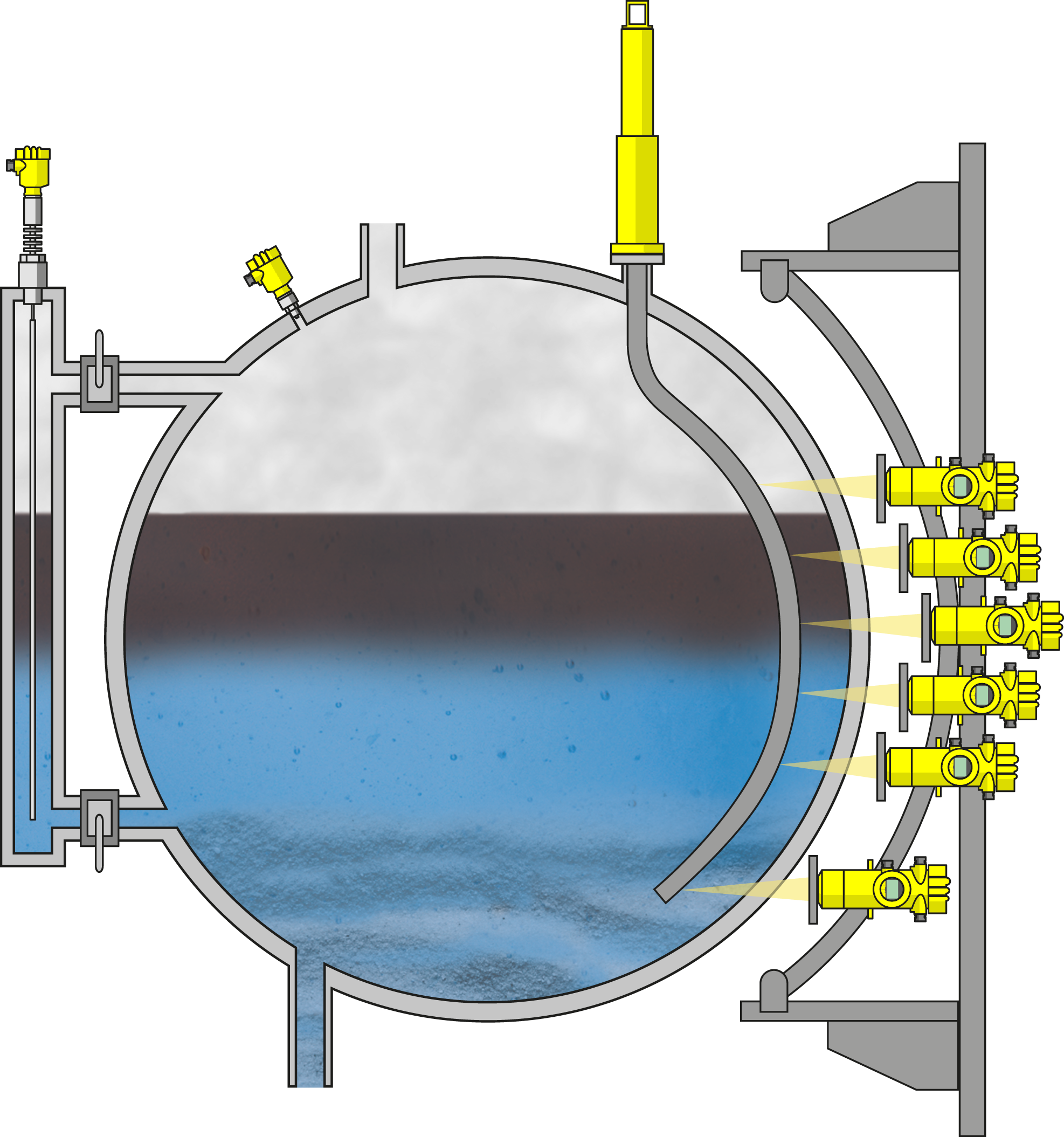 Level and pressure measurement in an oil separator