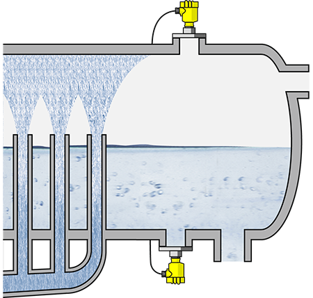Level measurement in the deaerator