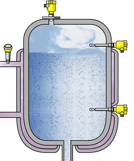 Level measurement in the preparation tank for solvents