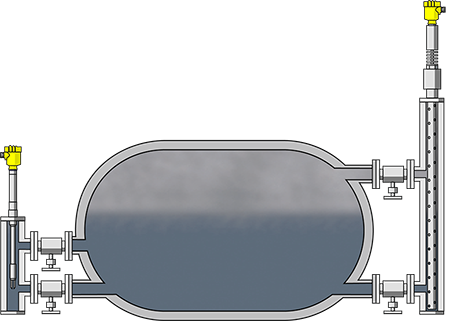Level measurement and limiting device in the steam drum