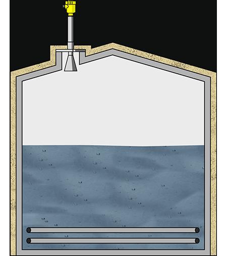 Level measurement in a molten salt storage tank