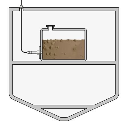 Level measurement in tanks with grey or black water