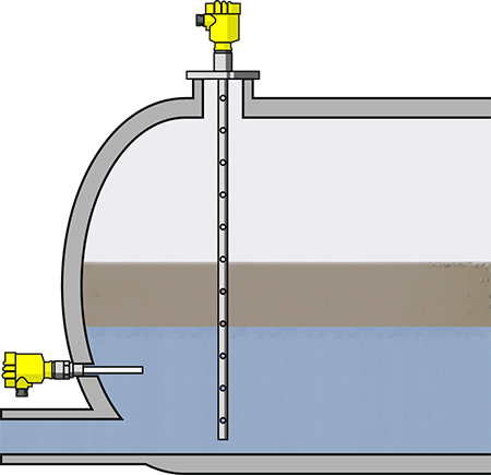 Level measurement and point level detection in a separator vessel tank for recovery of raw materials