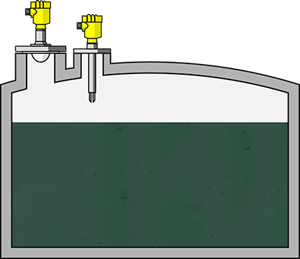 Level measurement and point level detection in bulk storage tanks