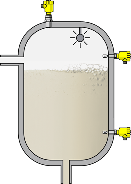 Level measurement in CIP system - cleaning agent storage tanks