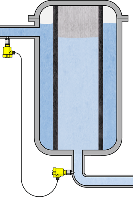 Differential pressure measurement for filter monitoring
