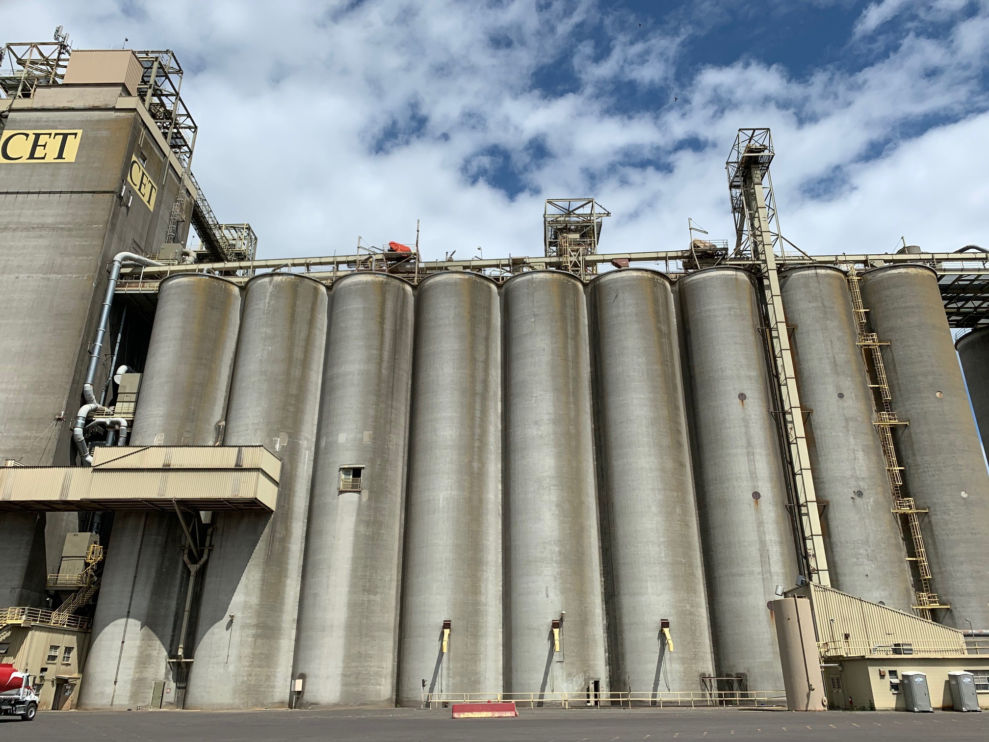 Large grain silos at a grain export facility in the Pacific Northwest.
