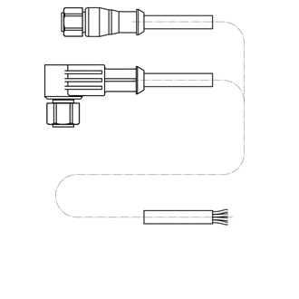 M12 connection cable single-sided